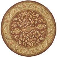Safavieh Handmade Golden Jaipur Rust/ Green Wool Rug - 6' x 6' Round
