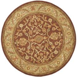 Safavieh Handmade Golden Jaipur Rust/ Green Wool Rug (8' Round)