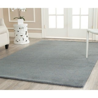 Safavieh Loomed Knotted Himalayan Solid Blue Wool Rug (6' Square)