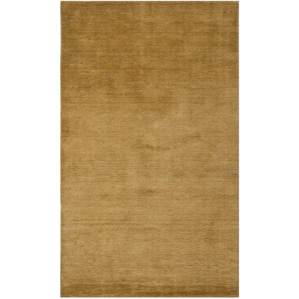 Safavieh Handmade Himalaya Solid Green Wool Area Rug - 5' x 8'
