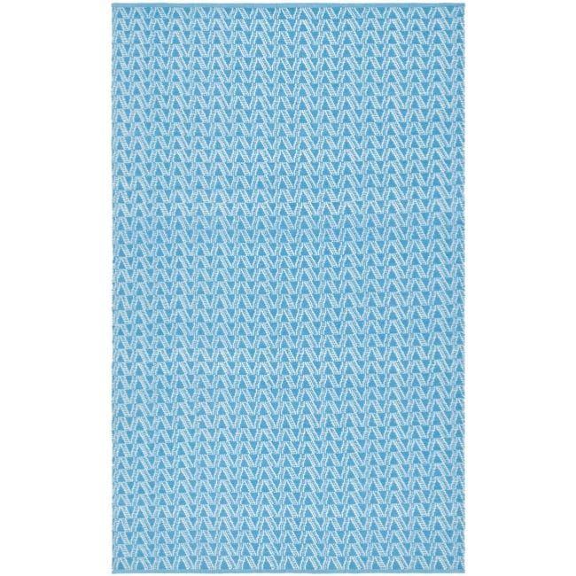 Handmade Thom Filicia Ackerman Summer Blue Rug (5' x 8')