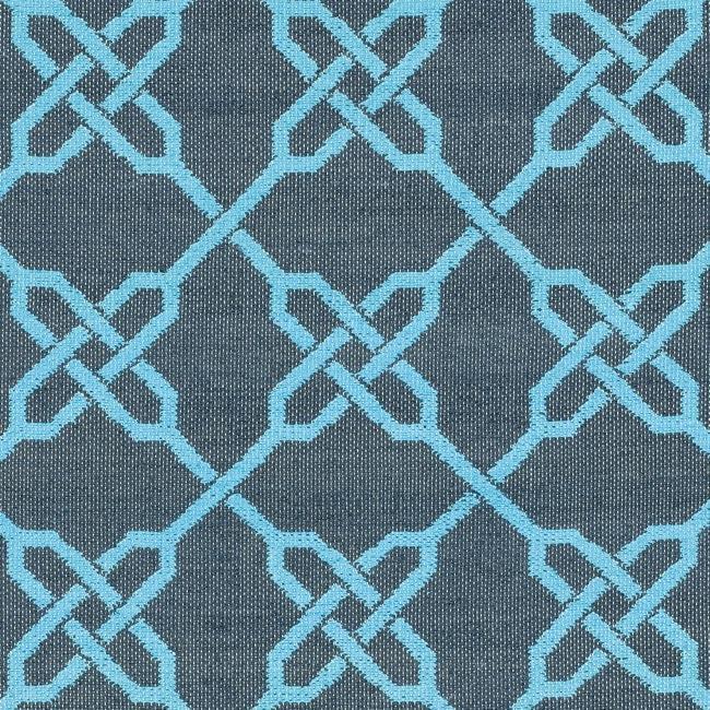 Handmade Thom Filicia Tioga Spray/ Blue Outdoor Rug (5' x 8')