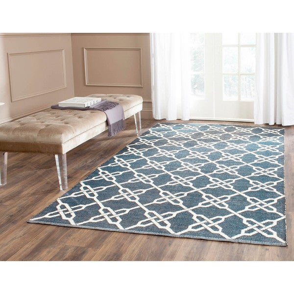 Attractive Handmade Thom Filicia Tioga Ink Blue Outdoor Rug (5u0027 ...