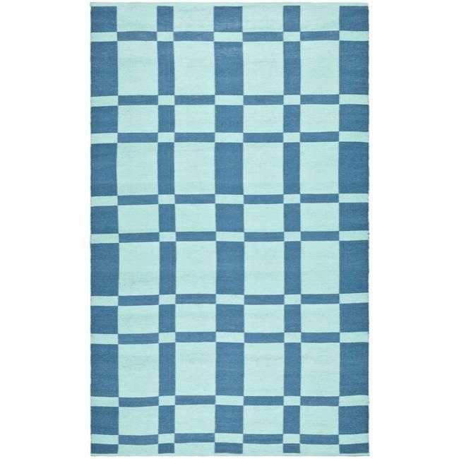 Handmade Thom Filicia Chatham Sea Blue Outdoor Rug - 6' x 9'