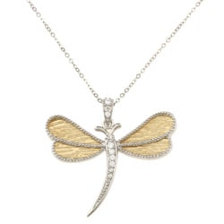 La Preciosa Sterling Silver Two-tone Dragonfly Cubic Zirconia Necklace