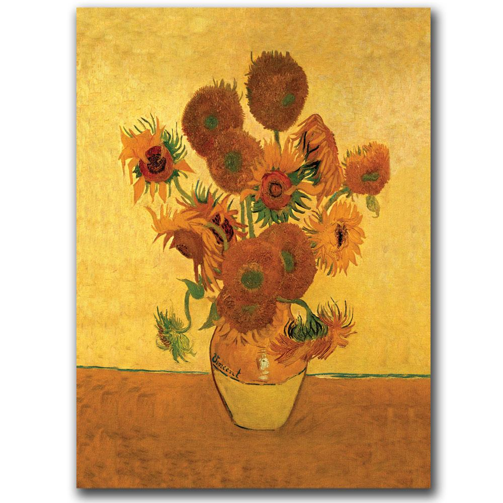 Vincent Van Gosh \'Vase with Sunflowers\' Canvas Art - Free Shipping ...