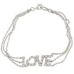 La Preciosa Silver 'Love' Triple-strand Cubic Zirconia Bracelet