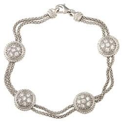 La Preciosa Silver Double-strand Circles Cubic Zirconia Bracelet
