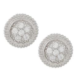 La Preciosa Sterling Silver Circle Cubic Zirconia Stud Earrings