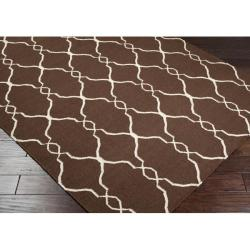 Hand-woven Providence Brown Flatweave Wool Rug (8' x 11') - Thumbnail 1