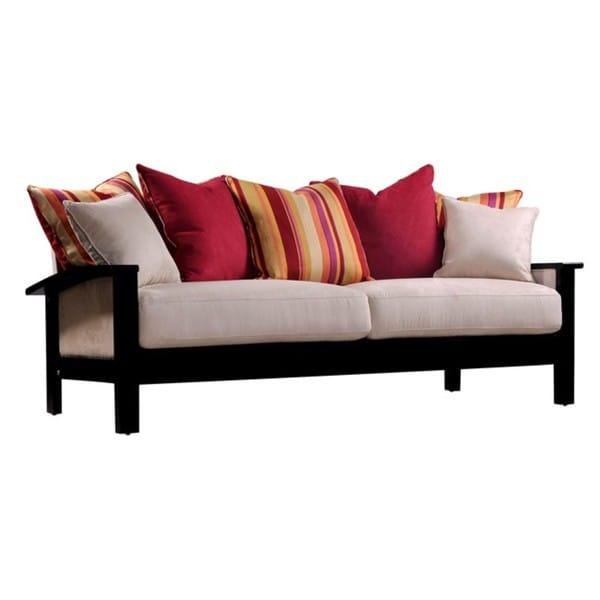 Loose Pillow Back Sofa: Portfolio Urban Wood Arm Beige Microfiber And Wine Stripe