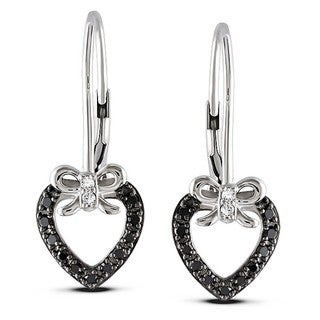 Sterling Silver 1/4ct TDW Black and White Diamond Heart Earrings