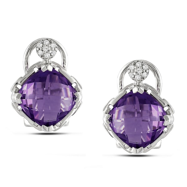 Miadora Sterling Silver Amethyst and Diamond Accent Earrings