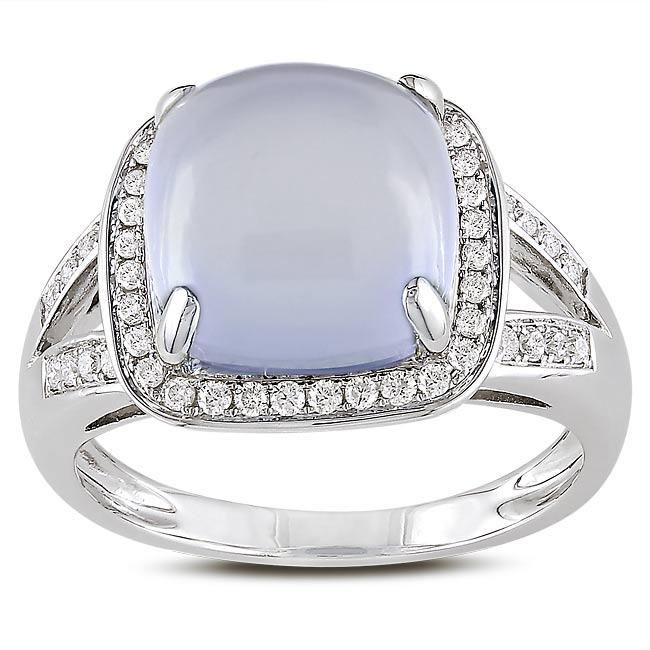 Miadora 14k White Gold Chalcedony and 1/4ct TDW Diamond Ring (G-H, SI1-SI2)