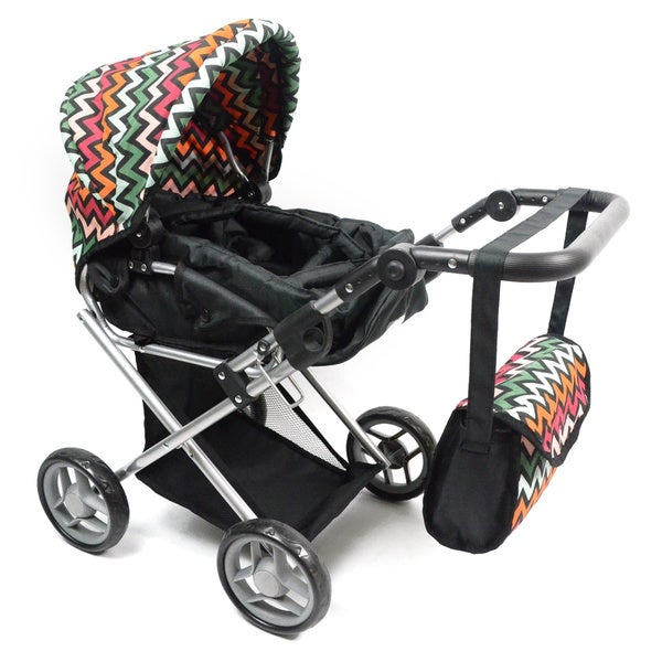 Bassinet Chevron Doll Stroller with Carriage Bag