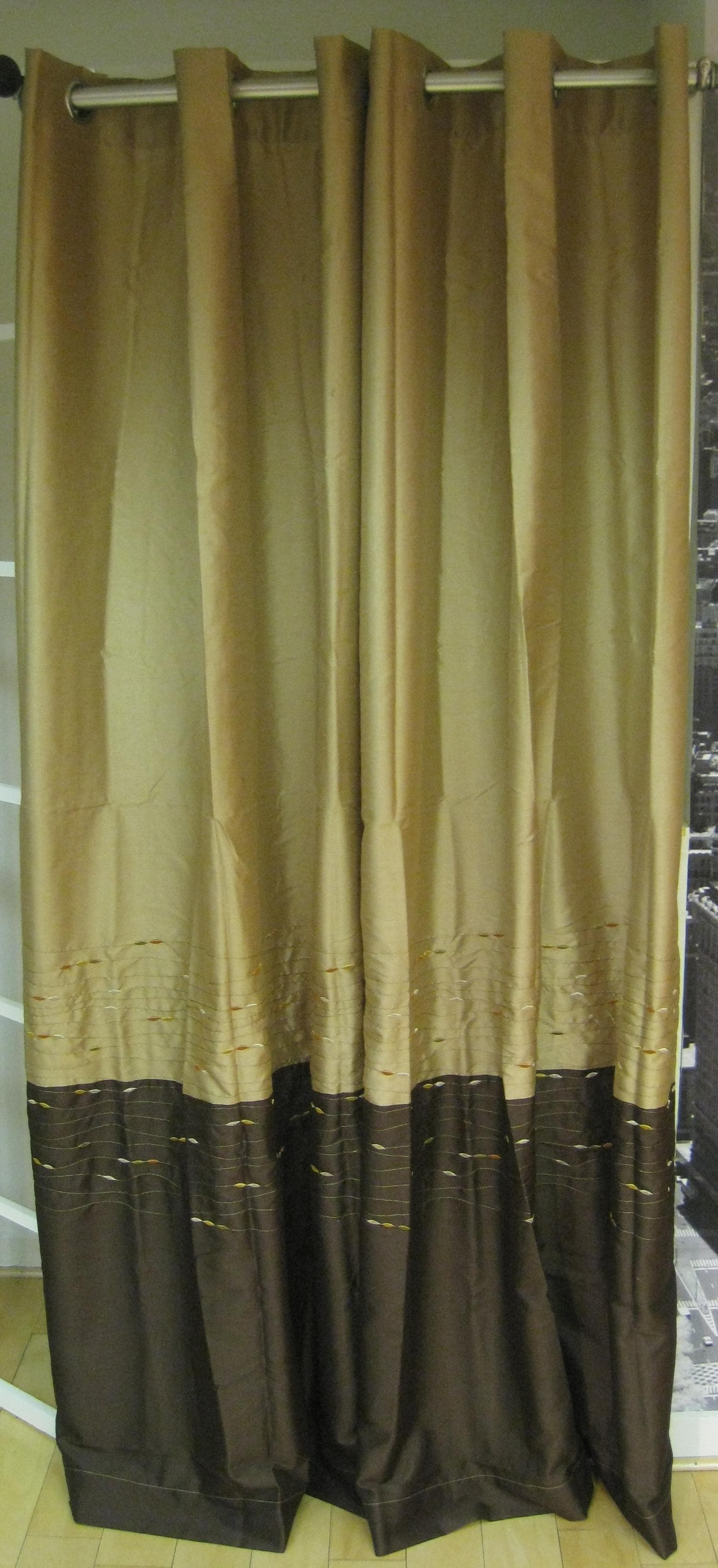 Horizon Embroidery Grommet 84-inch Curtain Panel