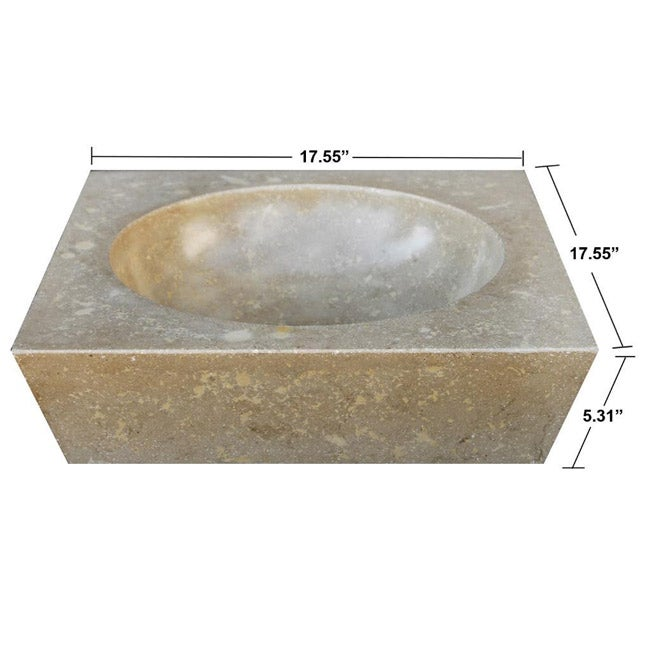 Concrete Round Incline Beige Sink - Thumbnail 0