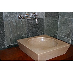 Concrete Round Incline Beige Sink - Thumbnail 2