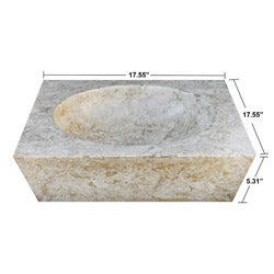 Concrete Round Incline Marble Sink - Thumbnail 1