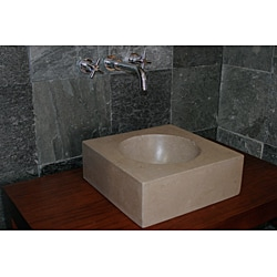Concrete Small Cube Beige Sink
