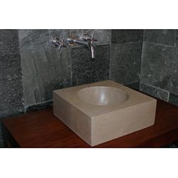 Concrete Small Cube Beige Sink - Thumbnail 2