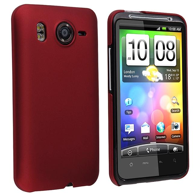 Red Rubber Coated Rear Case for HTC Inspire 4G/ Desire HD