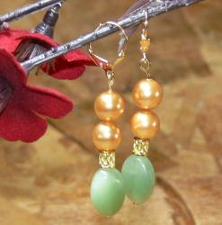 Susen Foster Goldplated 'Golden Jade' Jade and Pearl Earrings (8 mm)