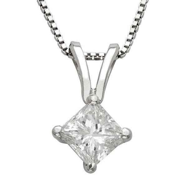 Montebello 14k White Gold 3/4ct TDW Princess Diamond Solitaire Necklace (I-J, I1-I2)