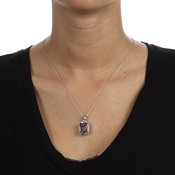 Viducci 10k White Gold Amethyst and Diamond Accent Necklace (G-H, I1-I2)