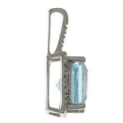 Viducci 10k Gold Blue Topaz and 1/10ct TDW Diamond Necklace (G-H, I1-I2)