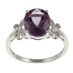 Viducci 10k White Gold Amethyst and 1/10ct TDW Diamond Ring (G-H, I1-I2)