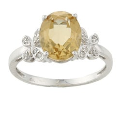 Viducci 10k White Gold Oval Citrine and 1/10ct TDW Diamond Ring (G-H, I1-I2)