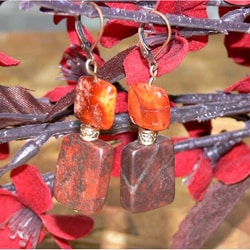 Susen Foster Goldplated 'Willing Heart' Carnelian and Jasper Earrings