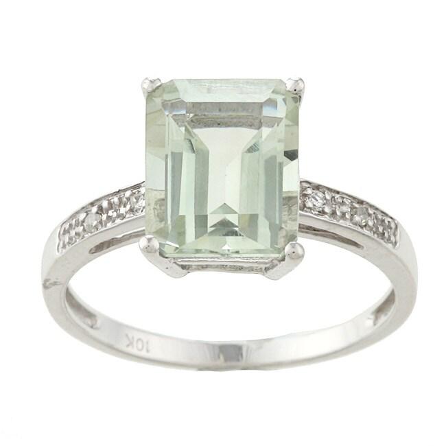 Viducci 10k White Gold Green Amethyst and Diamond Ring