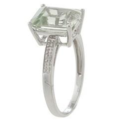 Viducci 10k White Gold Green Amethyst and Diamond Ring - Thumbnail 1