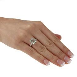Viducci 10k White Gold Green Amethyst and Diamond Ring - Thumbnail 2