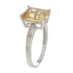 Viducci 10k White Gold Emerald-cut Citrine and Diamond Ring