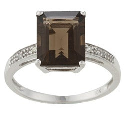 Viducci 10k White Gold Smokey Quartz and Diamond Ring