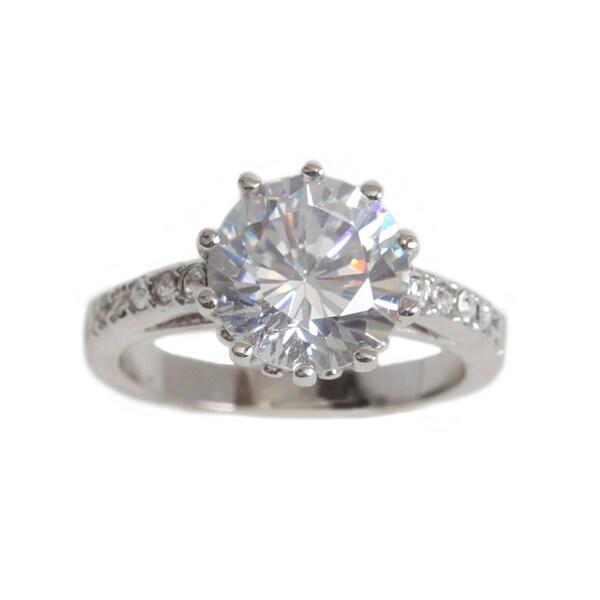 NEXTE Jewelry Silvertone Cubic Zirconia Solitaire Ring