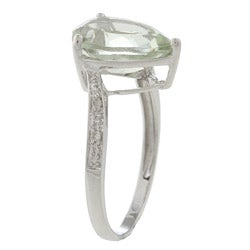 Viducci 10k White Gold Pear-cut Green Amethyst and Diamond Ring