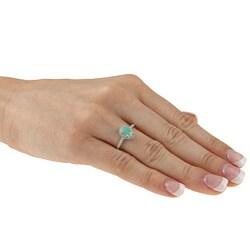 Viducci 10k Gold Emerald and 1/8ct TDW Diamond Ring (G-H, I1-I2) - Thumbnail 2