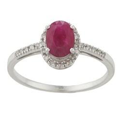 Viducci 10k White Gold Ruby and 1/8ct TDW Diamond Ring (G-H, I1-I2)