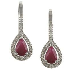 Viducci 10k White Gold Ruby and 1/6ct TDW Diamond Earrings (G-H, I1-I2)