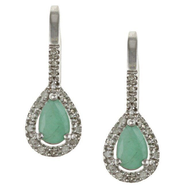 Viducci 10k White Gold Emerald and 1/6ct TDW Diamond Earrings (G-H, I1-I2)
