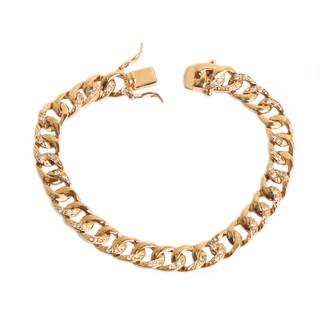 NEXTE Jewelry Gold Overlay Cubic Zirconia Cuban Link Bracelet