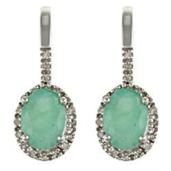 Viducci 10k White Gold Emerald and 1/5ct TDW Diamond Earrings (G-H, I1-I2)