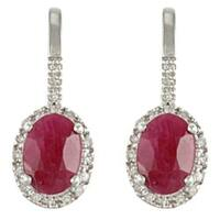 Viducci 10k White Gold Ruby and 1/5ct TDW Diamond Earrings (G-H, I1-I2)