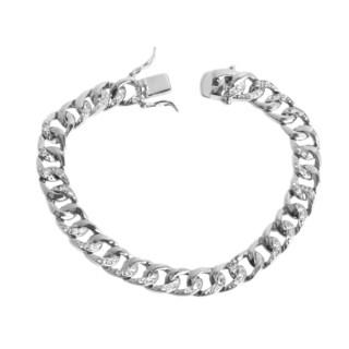 NEXTE Jewelry Silvertone Cubic Zirconia Cuban Link Bracelet