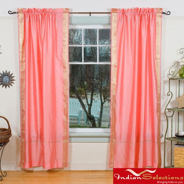 Peach Pink Rod Pocket Sheer Sari Curtain Panel Pair  , Handmade in India