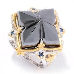 Michael Valitutti Two-tone Hematite and Blue Sapphire Ring - Thumbnail 1